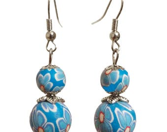 Earrings dangle polymer clay flower pattern 2 bead sky blue and clear