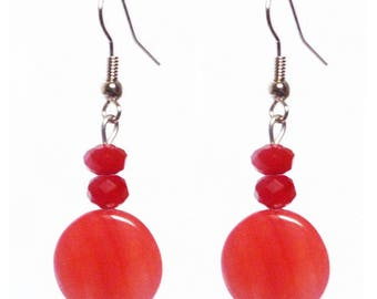 Freshwater Pearl drop earrings classic Pearl red opaque glass faceted