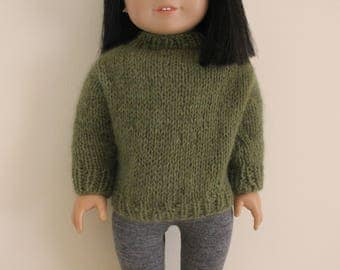 Green Sweater for 18 inch dolls; fits American Girl