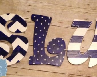 Blue and White Handpainted Letters