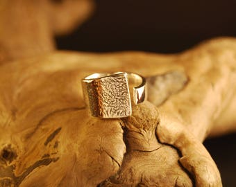 "Silver Adjustable ring original and handcrafted ""design"""