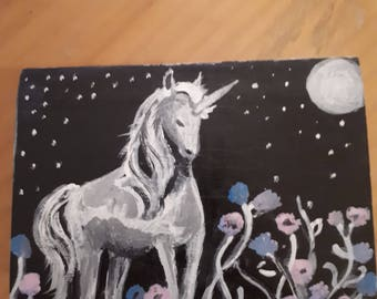 Unicorn trinket box hand painted one of a kind