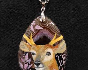 Micro Oil Painting Deer Pendant