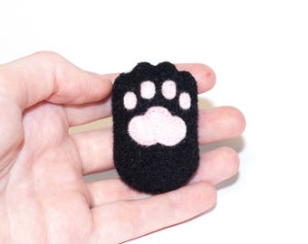 Black Cat Paw Kawaii Sewn Felt Brooch / Pin