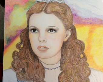 Colored Pencil drawing of Judy Garland as Dorothy from The Wizard of Oz