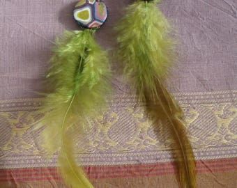 Earrings style Klimt feathered