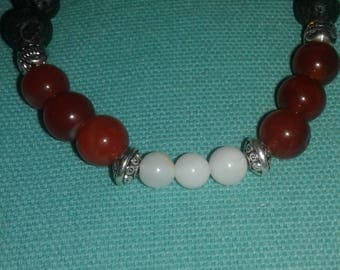 Fire Agate, Shell and Lava Stone bracelet