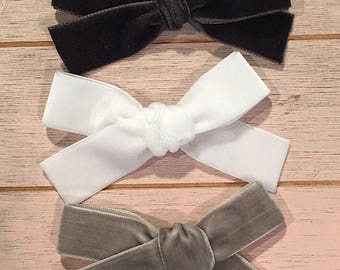 "VELVET BOW SET. Black, white & grey / gray. Medium sized 7/8-1"" wide hand tied bows for babies, toddlers and little girls on clip or headban"