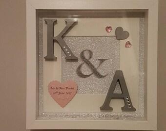 Unique- handmade- initial- wedding-frame-personalised-glitter