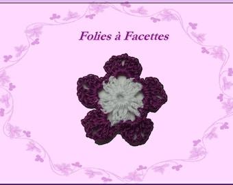 Purple and white cotton crochet flower