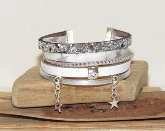 """Cuff Bracelet """"white night the stars 2"""" leather, suede, silver and white"""