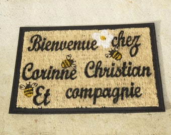 "Doormat personalized ""Welcome to Grandma and Grandpa!"" with bees and flowers for a beekeeper"