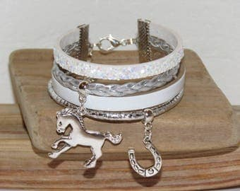 Cuff Bracelet, multi-row, white, silver, leather, glitter, suede, teenager, horse riding, horse shoe charm
