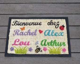 """Welcome to the country"" mat custom doormat personalized, original mat, doormat with names, multicolored doormat"