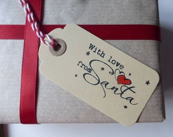 Pack of 10 With Love From Santa Christmas gift tags