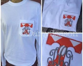 University of Tennessee UT Vols Volunteers Monogrammed Pocket Tee Shirt Go Big Orange GBO