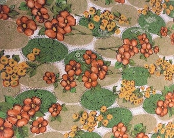 Vintage Cotton Fabric, Floral Fabric, Curtain Fabric, Quilting Fabric, 70's Vintage Fabric