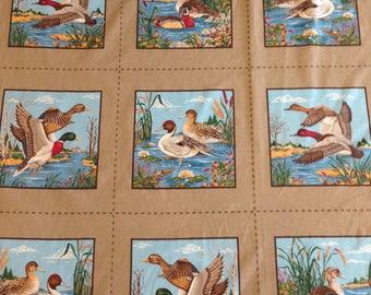 Vintage Mallard Duck Fabric, Duck Quilt Fabric, Wildlife Design, Duck Hunter Fabric, Quilting Cotton, Cheater Top