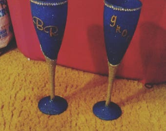 2pc Customize Glitter Glass