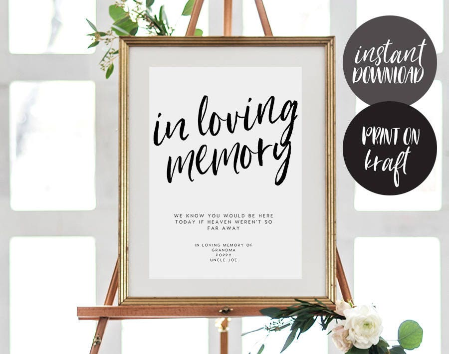 in loving memory sign, instant download, printable memory sign, Powerpoint templates