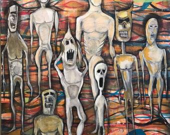 Pop Art Acrylic On Canvas 30 x 40 Original Nightmare