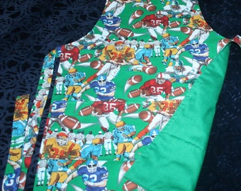 Child BBQ Style (L) Apron, Football Player Print, Wide Pocket, D-Ring at neck, Lined