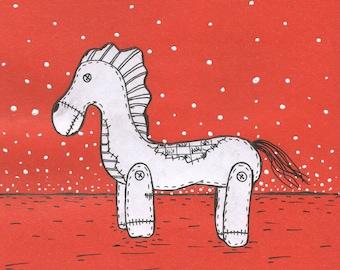 HORSE Drawing, acrylic, CARDBOARD , Lishko Vitaliy collage mixed media, painting