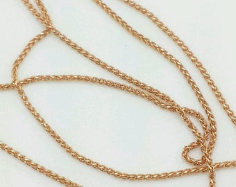 "14k Rose Gold Diamond Cut Round Wheat Necklace Pendant Chain 16""-20"" .6mm"