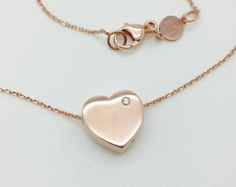 14k Italian Rose Gold Adjustable Heart Diamond Pendant Charm Necklace Chain Best Selling Gift