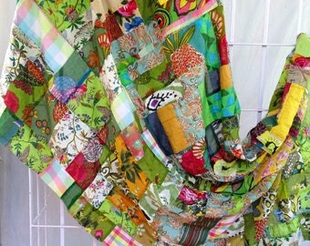 PATCHWORK - AKKA in green and multicolored cotton sold by the yard