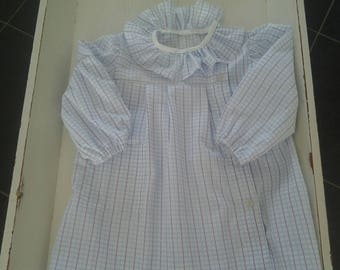 pretty white stripes background checkered apron blue turquoise and purple