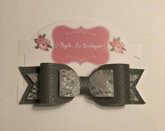 Grey leather bow