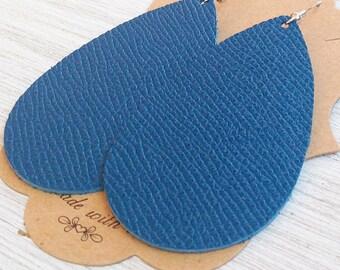 Deep Sea Blue Teardrop Earrings, Royal Blue Teardrop Earrings, Genuine Leather Earrings, Statement Earrings, Saffiano Leather