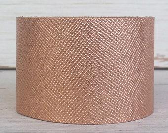 Rose Gold Saffiano Leather Cuff Bracelet, Leather Cuff, Cuff Bracelet, Statement Bracelet, Boho