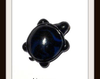 Black blue 23 mm x 18 mm polymer clay turtle embellishment applique