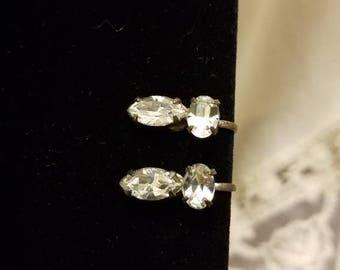 Vintage White Rhinestone Screw Back Earrings