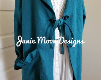 Peacock blue linen coat (SOLD)