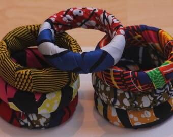 Bracelets, African fabric jewellery, ankara bangles
