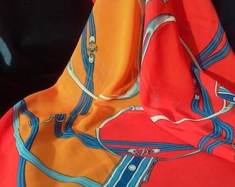 Orange Square Scarf Blue Square Scarf Women's Silk Scarves Spain Chain Pattern Scarf Orange Shawl Orange Red Blue Square Scarf Wrap Bandana