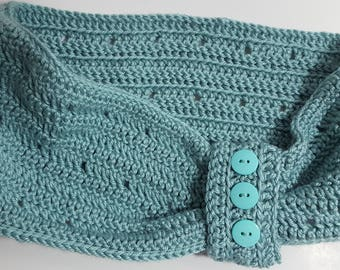 Crocheted Light Aqua Cowl