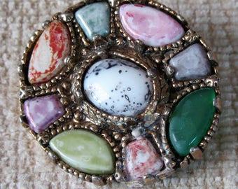 1960s scottish celtic stone brooch