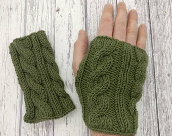 Cable knit fingerless mittens (wrist warmers) (sage green)
