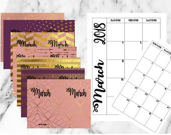 Half Sheet (A5) March Weekly week on 2 Pages Planner Printable Inserts