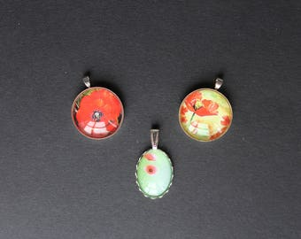supports 3 pendants with poppy 18 / 25 mm silver