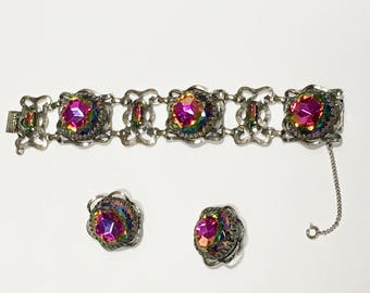 Schiaparelli Jewelry Watermelon Large Rhinestone Bracelet Earrings Set Demi Parure Signed Vintage Christmas