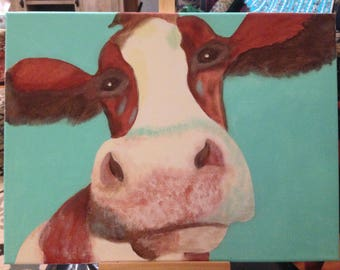 "Cow canvas painting print - ""Flossie"""