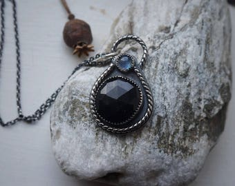 Onyx & moonstone Pendant in sterling silver