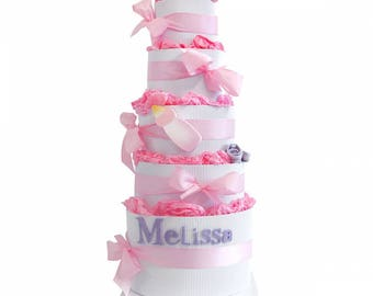 Diaper cake 5 floors with name