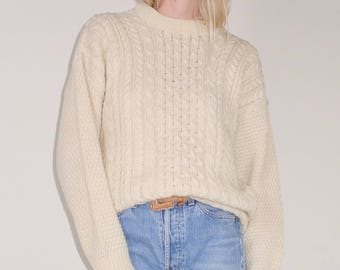 Lovely vintage pure wool cream fisherman knit sweater, Made in Scotland
