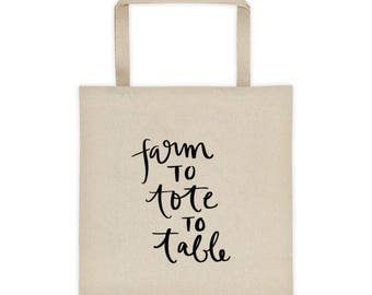 Farm To Tote To Table Cute Grocery Shopping Tote bag